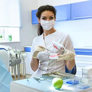 Berufshaftpflichtversicherung Zahnärzte - Zahnärztin mit Modellgebiss